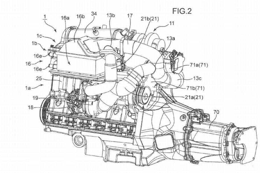 Mazda запатентовала двигатель с тремя турбинами